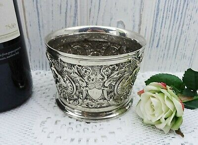 Vintage silver plated wine bottle coaster, repoussé wine bottle stand, barware