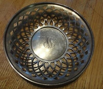 """Whiting Sterling 1915 Pierced Bowl  7"""" Wide    Monogram Is Either M Or W"""