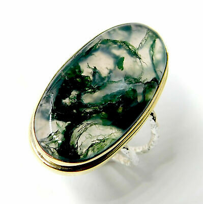 Natural Moss Agate 925 Sterling Silver Plated Jewelry Two Tone Ring Size 8.25''