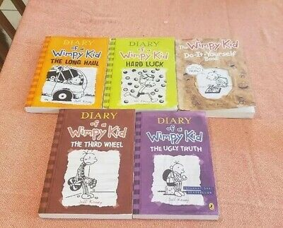 Diary of a Wimpy Kid LOT OF 5 Books (Jeff Kinney) Collection Set