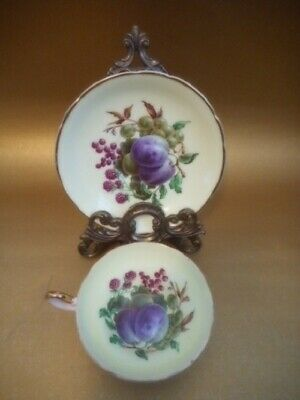 Vintage Regency bone china tea cup and saucer, fruit, England gilt gold trim