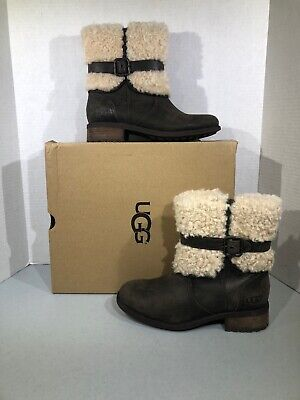 468cd0f65bc UGG BLAYRE II Suede Sheepskin Chestnut Ankle Mid Zip Boots Size 8.5 ...