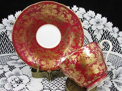 Aynsley Rich Red Gold Gilt Asian Style Scene Tea Cup And Saucer