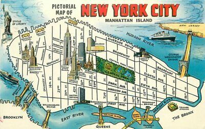 Map Of New York City Attractions.1950s Map Attractions New York City Postcard Manhattan Colorpicture