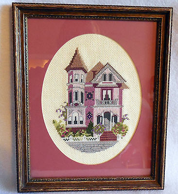 Victoriam House Cross Stitch framed matted completed