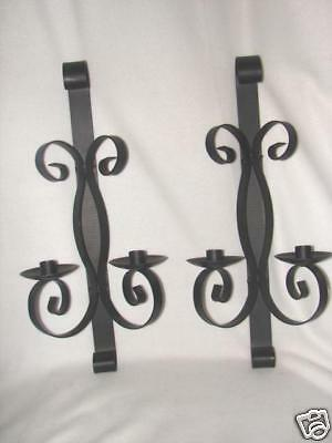 Vintage Huge 20 inches Pair Wrought Iron Wall Sconces ~ very nice ~ H U G E