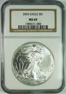 2003 $1 American Silver Eagle Coin NGC MS69