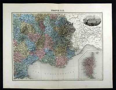 1880 Migeon Map - France - French Riviera - Marseille