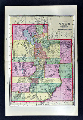 1909 George Cram Map - Utah Salt Lake City Ogden Provo Moab Price Manti Logan UT