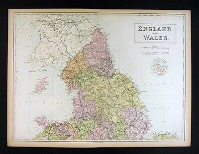 1879 Black Atlas Map - North England & Wales - Liverpool Carlisle Isle of Man