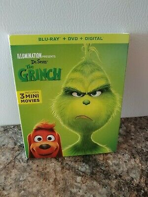 Dr. Seuss' THE GRINCH 2019( Blu-Ray + DVD + Digital + Slip Cover) FACTORY SEALED