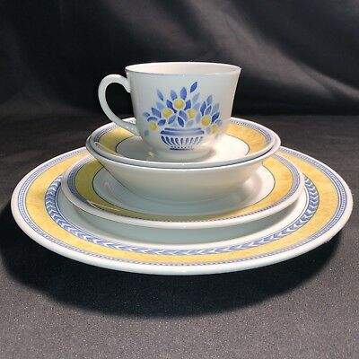 5 Pc Place Setting Jardiniere Yellow by JOHNSON BROTHERS Dinner Salad Bowl Cup &
