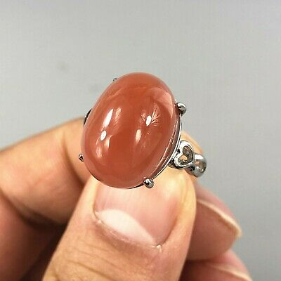 Chinese Collectible Handwork S925 Silver & Red Agate Rare No.7-14 Lady's Ring