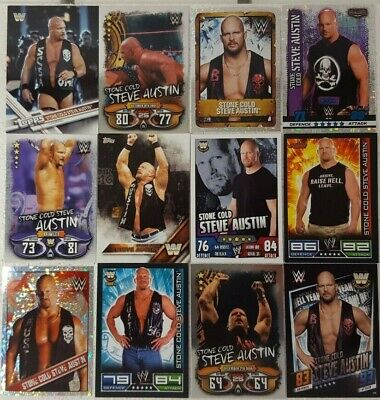 WWE STONE COLD Steve Austin Trading Card  LOT US + UK no doubles