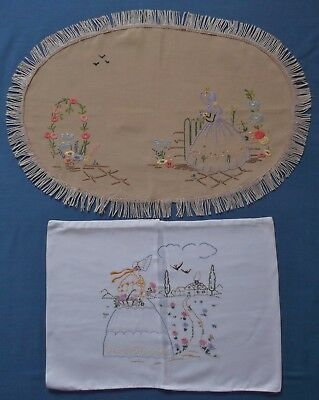Vintage Crinoline Lady Table Tray Cloth Panels Hand Embroidered Pretty Ladies