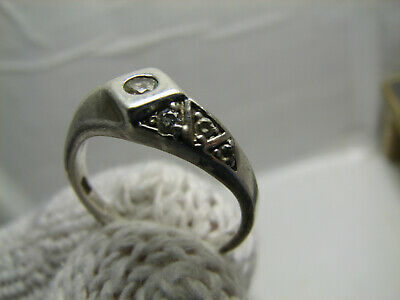 VERY NICE OLD VINTAGE STERLING SILVER RING w STONE #1104