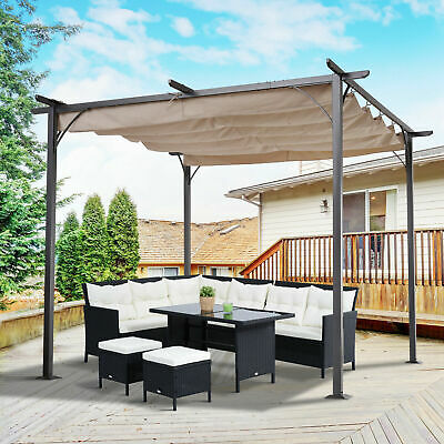 Outsunny Outdoor Steel Pergola Gazebo Porch Awning Retractable Canopy