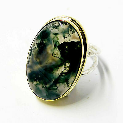 Natural Moss Agate 925 Sterling Silver Plated Jewelry Two Tone Ring Size 7.5''