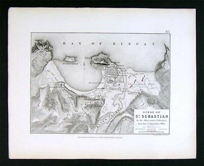 1855 Johnston Military Map Napoleon Siege of St. Sebastian 1813 Spain Biscay Bay