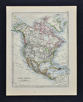 1895 Johnston Map - North America Political & Physical United States Canada