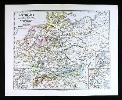 1880 Spruner Map - 11th Century Germany - Church Provinces of Middle Europe
