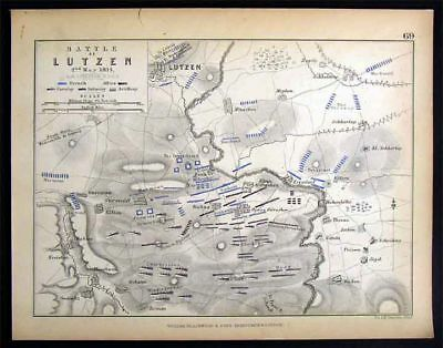 1848 Napoleon Military Map - Battle of Lutzen - Germany