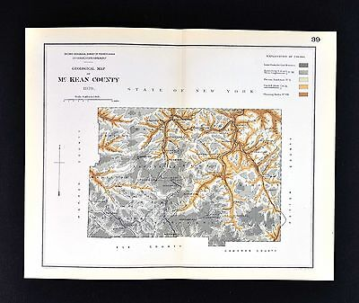 1878 Geological Map - McKean County Pennsylvania - by Lesley Geology Survey PA