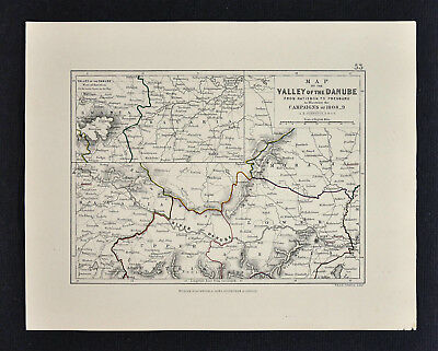 1855 Johnston Military Map Napoleon - Valley of the Danube 1808  Austria Germany