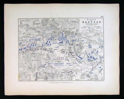 1855 Johnston Military Map - Napoleon - Battle of Bautzen 1813 - Saxony Germany