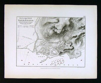1855 Johnston Military Map - Napoleon Battle Naval Siege of Tarragona 1811 Spain