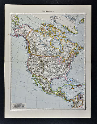 1887 Andrees Map - North America United States Canada Mexico Alaska Arctic Large