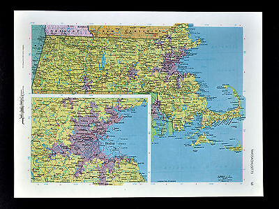 c1970 McNally Cosmo Map - Massachusetts - Boston Cambridge Fall River Worcester
