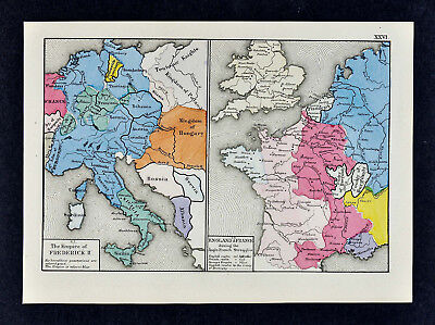 1880 Labberton Map Empire of Frederick II Germany Austria - England & France War