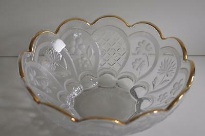 A Lovely Gilt Rimmed Glass Bowl With Etched Flowers And Leaves.