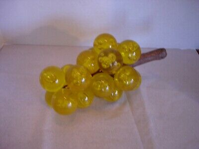 Vintage Mid-Century Lucite Acrylic Grapes Yellow on Driftwood