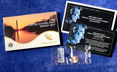 """2019 U.S. Mint Proof Set  Including The West Point """"W"""" Proof Lincoln Penny."""