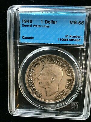 **1946**, CCCS Graded Canadian Silver Dollar **MS-65** RARE