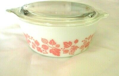 PINK GOOSEBERRY pattern PYREX covered round casserole w/Pyrex glass lid c.1950's