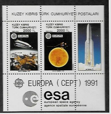TURKISH CYPRUS SC 298 NH issue of 1991 - EUROPA - SPACE