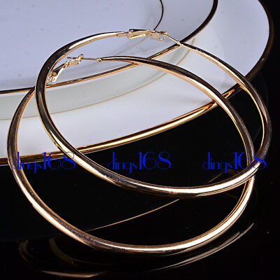 Ladies 18K Gold Filled Tarnish-Resist Classic eXtra-Large Tube Hoop Earrings B2G