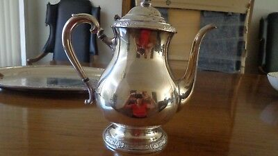 Vtg International Silver Co. Silverplate 2 Pc Set Tray And Coffe Pot Camille