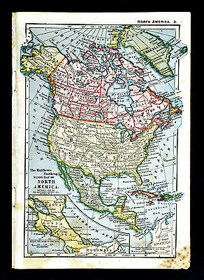 1900 Mathews-Northrup Map  North America United States Canada Mexico Alaska Cuba