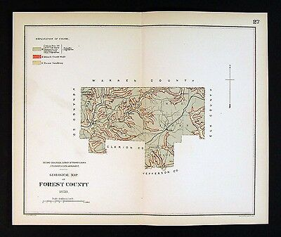 1878 Geological Map - Forest County Pennsylvania - by Lesley Geology Survey PA