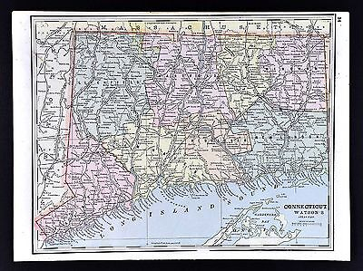 1891 Watson Atlas Map - Connecticut - New Haven Hartford Middleton Norwich
