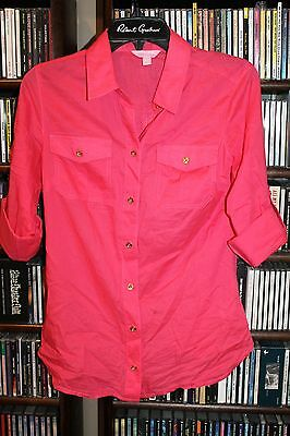 Lilly Pulitzer Fuchsia Hot Pink Blouse Gold Buttons Ladies sz 2  (bin92)