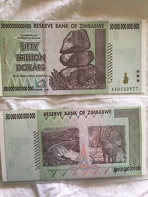 50 Trillion Zimbabwe notes, AA series, 2008, excellent condition, plastic covers