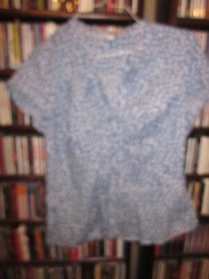 Boden light blue white polka dot short sleeved Cotton Blouse Top Shirt 12  (u7)