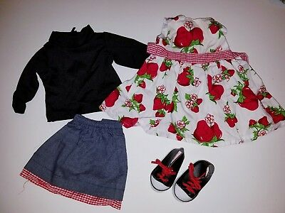 Strawberry dress extra outfit & shoes 18 inch doll outfit fits American girl