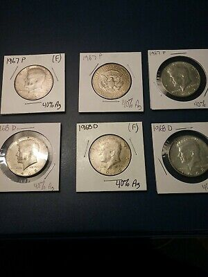 1967P 1968D 40% Silver Kennedy Half Dollar Coins Lot Of 6
