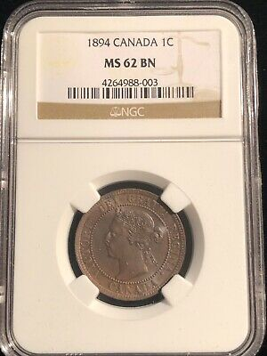 1894 Canada Large Cent NGC MS 62 BN Brown One Cent Coin Rare